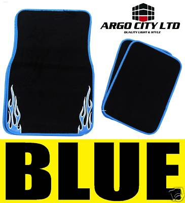 BLACK & BLUE FLAME CAR MATS PEUGEOT 106 107 206 307 308