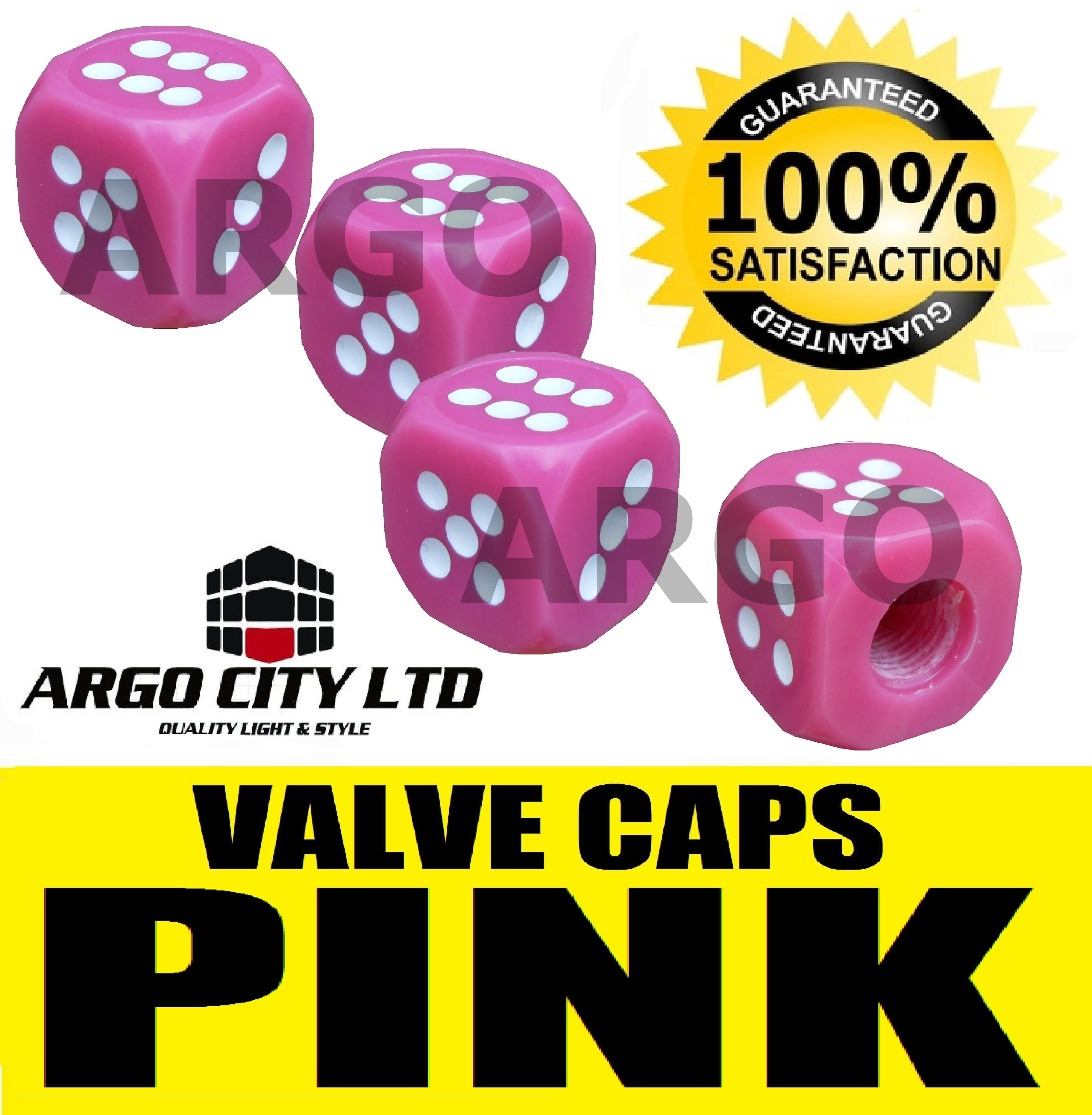 CANDY PINK DICE VALVE CAPS DUST TYRE WHEEL CAR CADILLAC ESCALADE