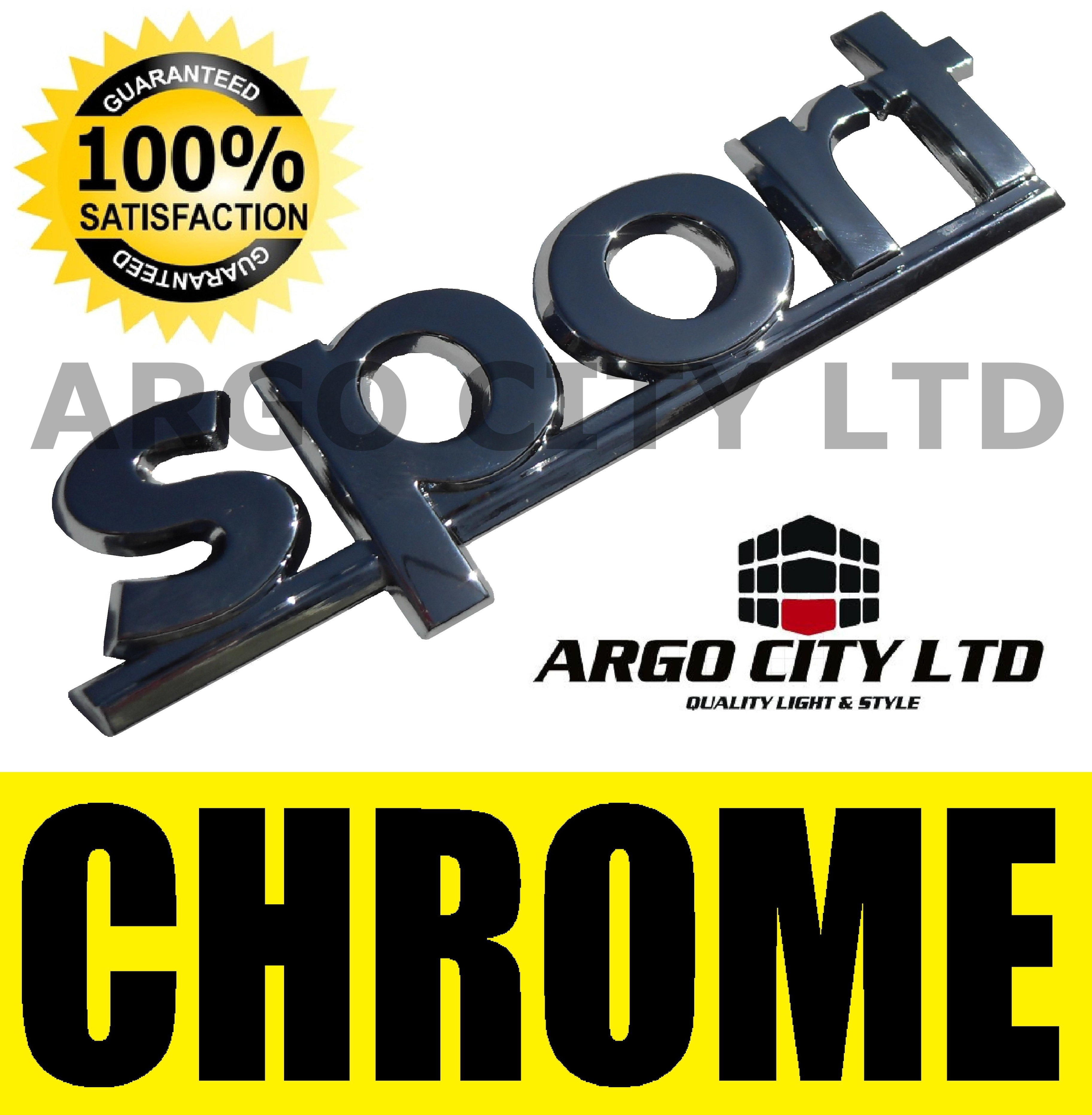 CHROME SPORT BADGE SILVER 3D EMBLEM DECAL STICKER VAUXHALL CORSA SXI SI VXR GSI