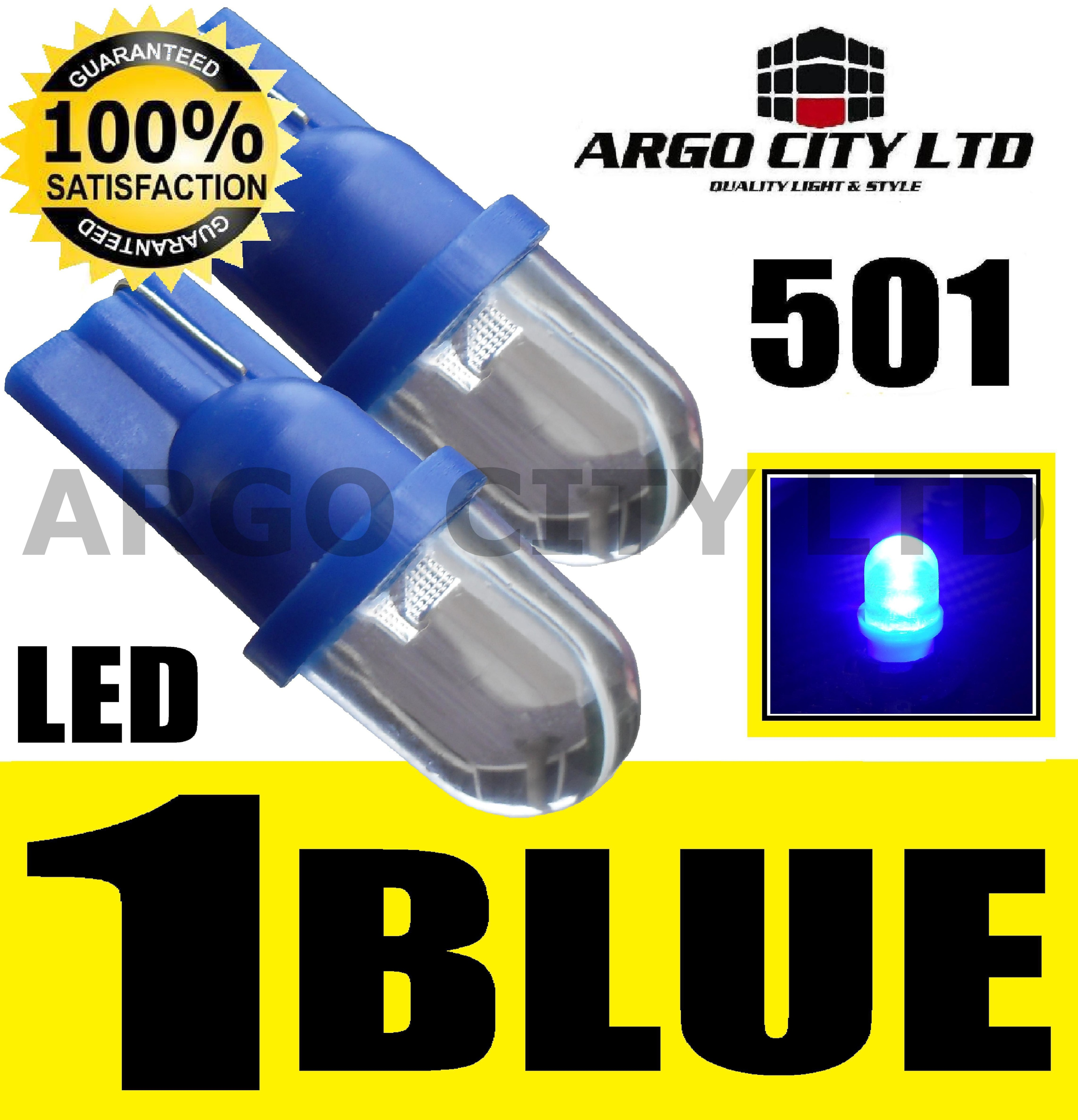 2x 501 CAPLESS 12V INTERIOR SIDE LIGHT LED BULB BLUE
