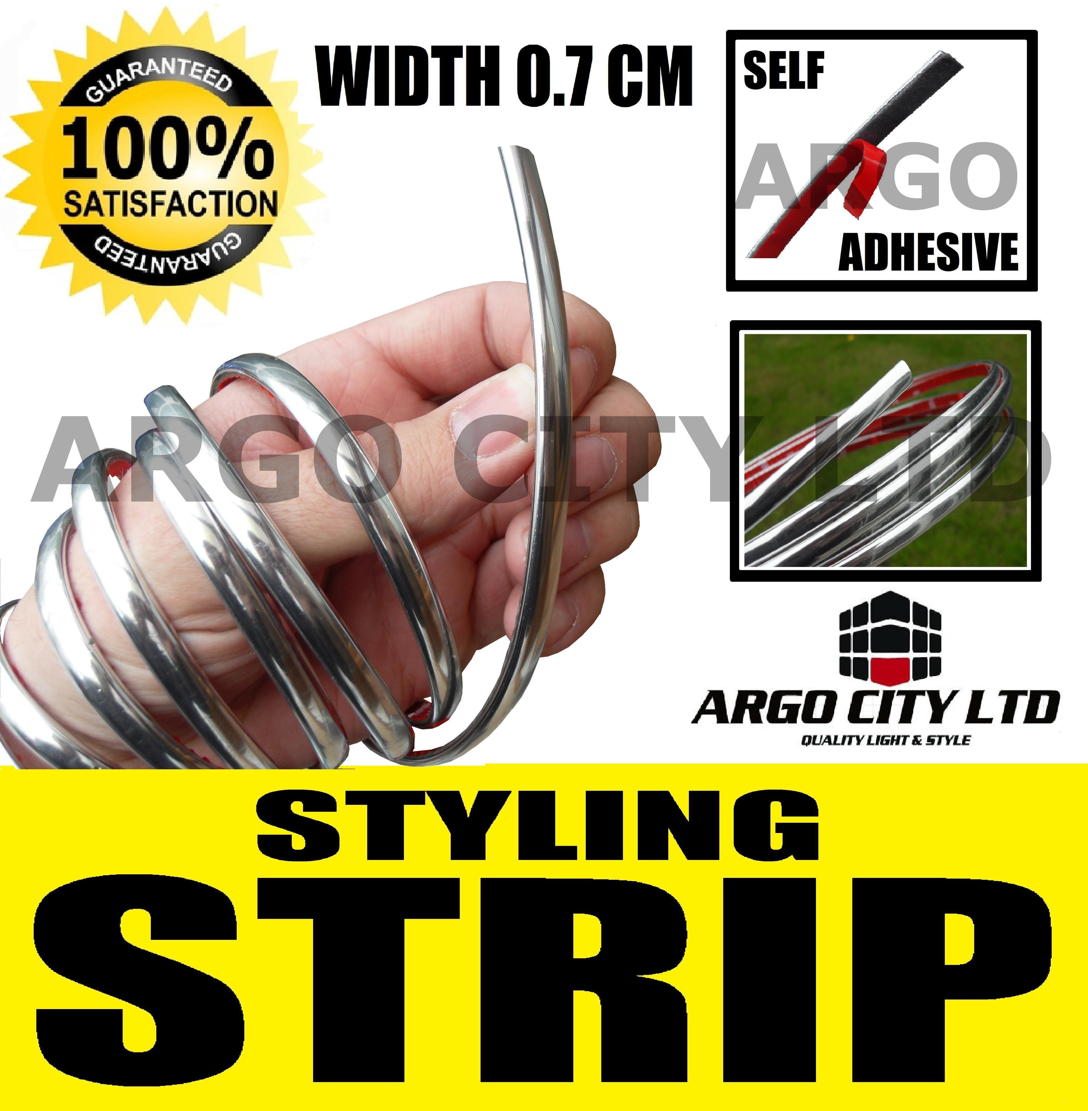 0.7 CM Chrome Detail STYLING Strip Trim + 3M adhesive