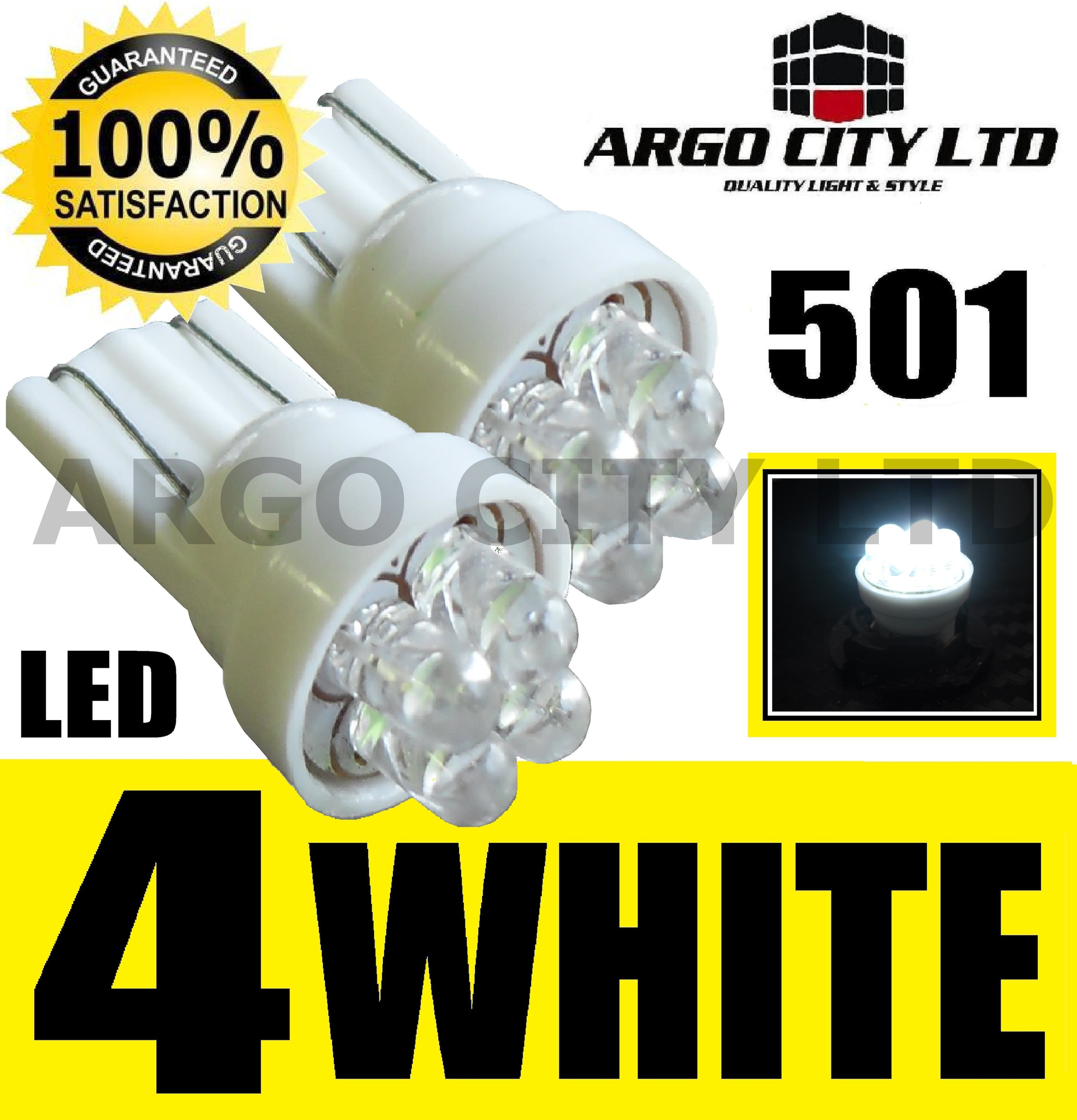 2 X 4 LED EXTREME WHITE 194 168 W5W 501 SIDELIGHT BULBS
