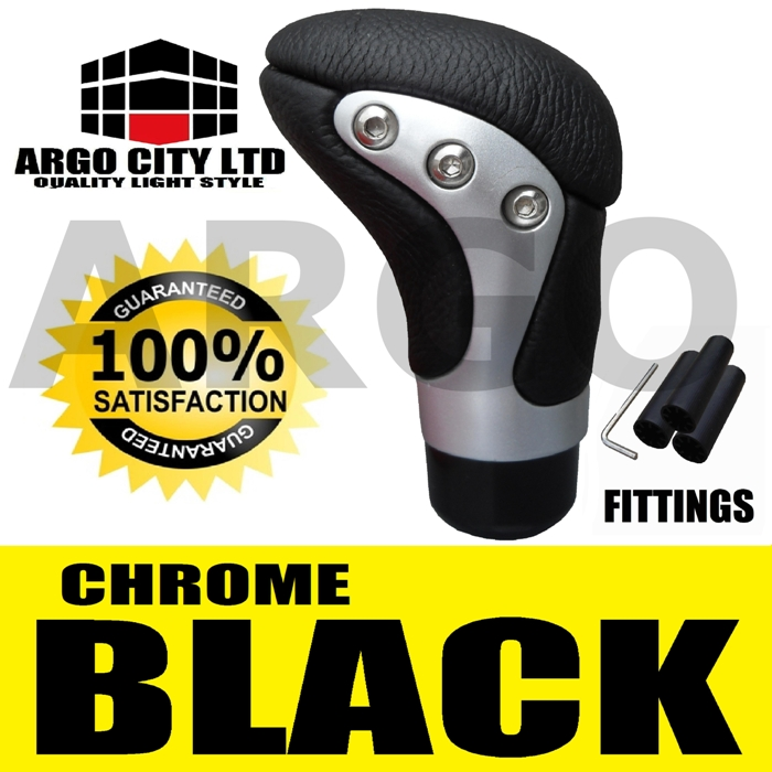 BLACK CHROME LEATHER GEAR SHIFT LEVER KNOB HONDA CIVIC TYPE R VTEC