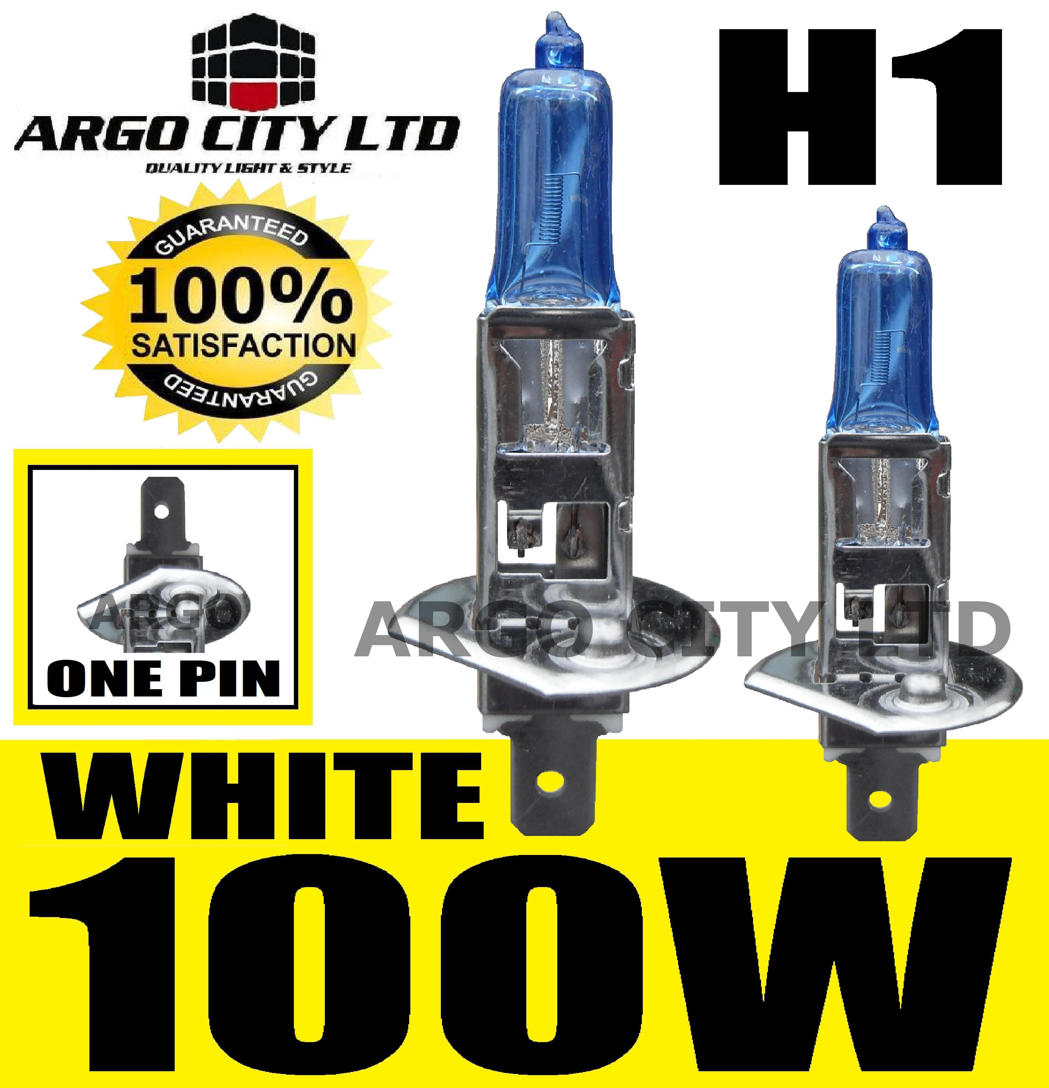 H1 100W 12V XENON EXTREME WHITE HEADLIGHT BULBS x2