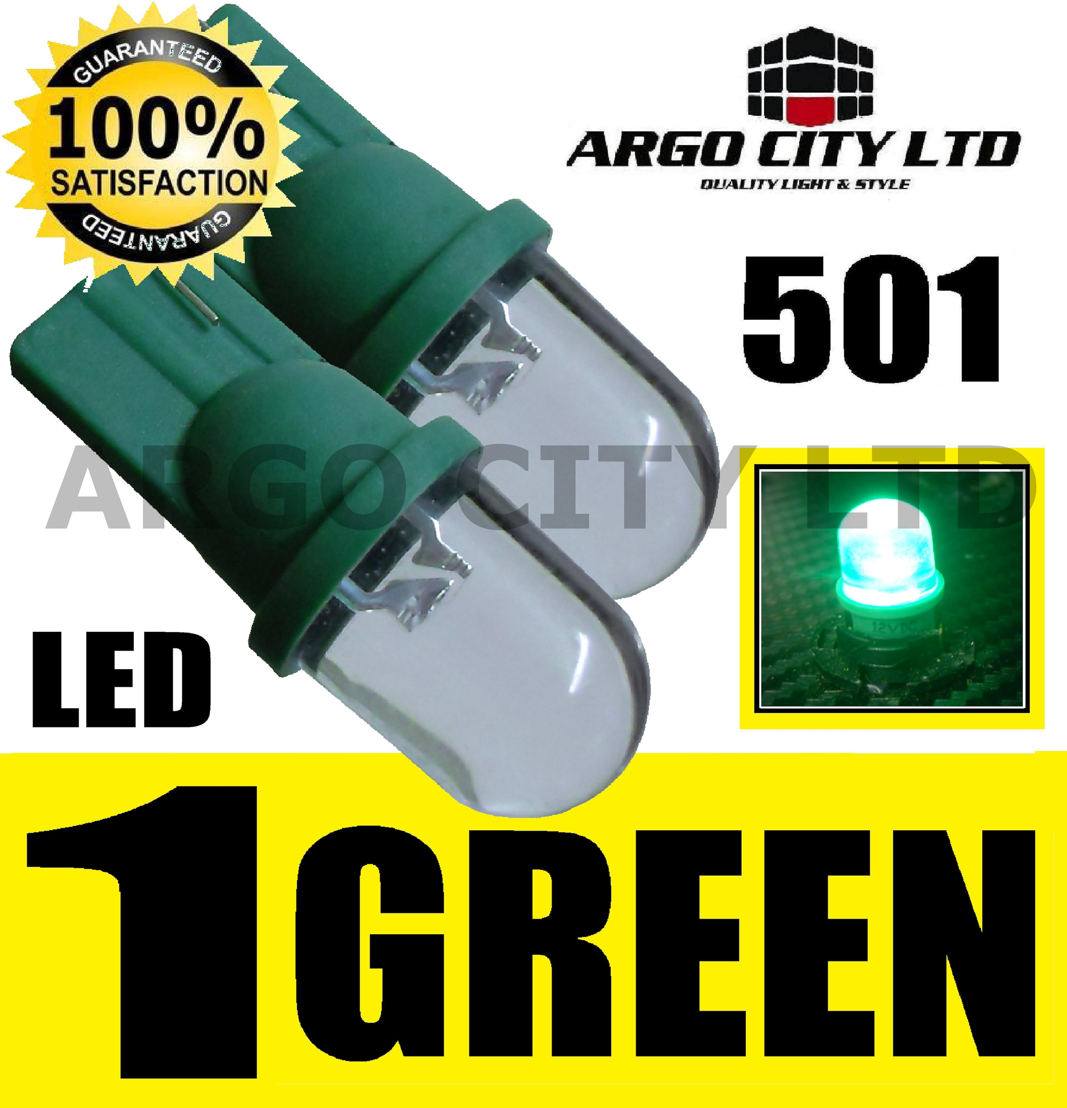 PAIR NEON GREEN LED 501 SIDE LIGHT BULBS W5W T10