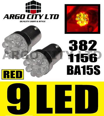 CAR 2x RED 9-LED [BA15S,382,1156?,P21w] 12v Bulbs