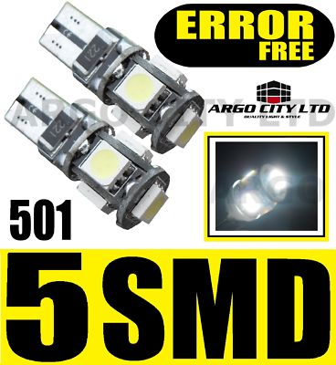 501 5 SMD LED SIDELIGHT BULBS PEUGEOT 106 107 206 207