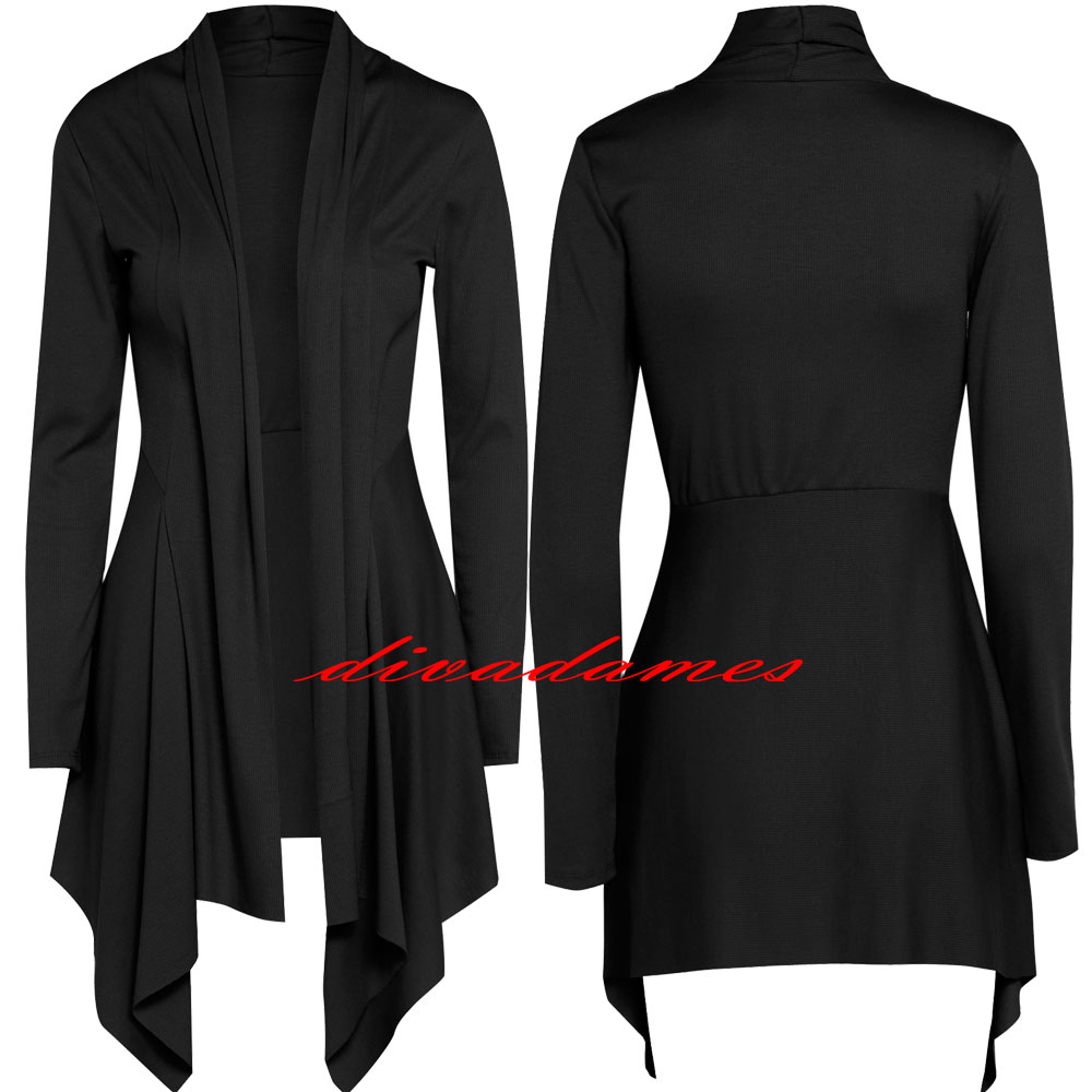 WOMENS LONG SLEEVE WATERFALL CARDIGAN LADIES SHRUG UK SIZE 10 12 ...