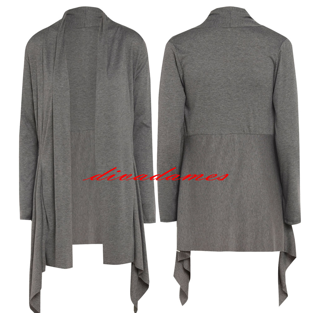 WOMENS-LONG-SLEEVE-WATERFALL-CARDIGAN-LADIES-SHRUG-UK-SIZE-10-12-14