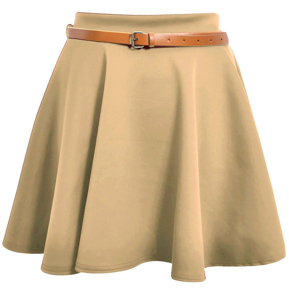 Ladies Skater Skirt Womens Belted Flared Plain Mini Skirt Sizes UK 8 10 12 14