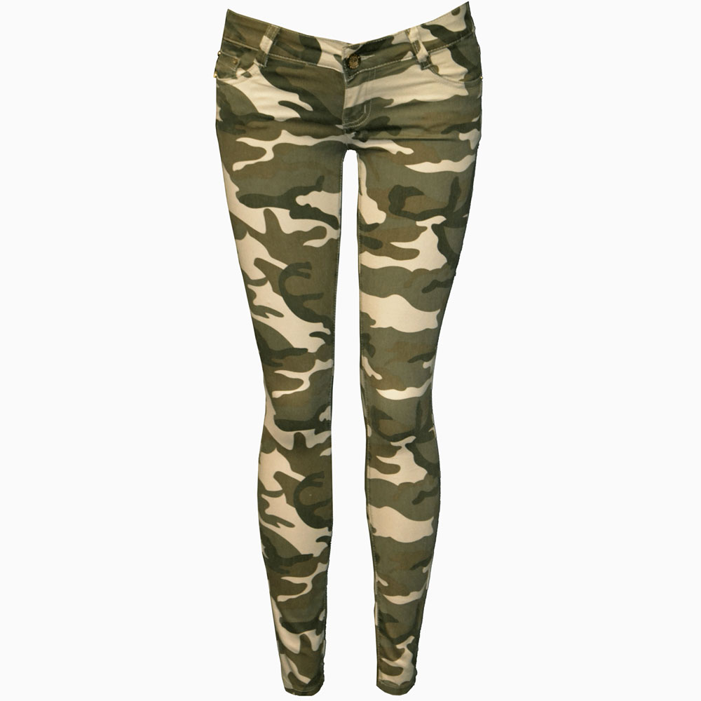 Ladies Camouflage Trousers Womens Slim Fit Skinny Army ...