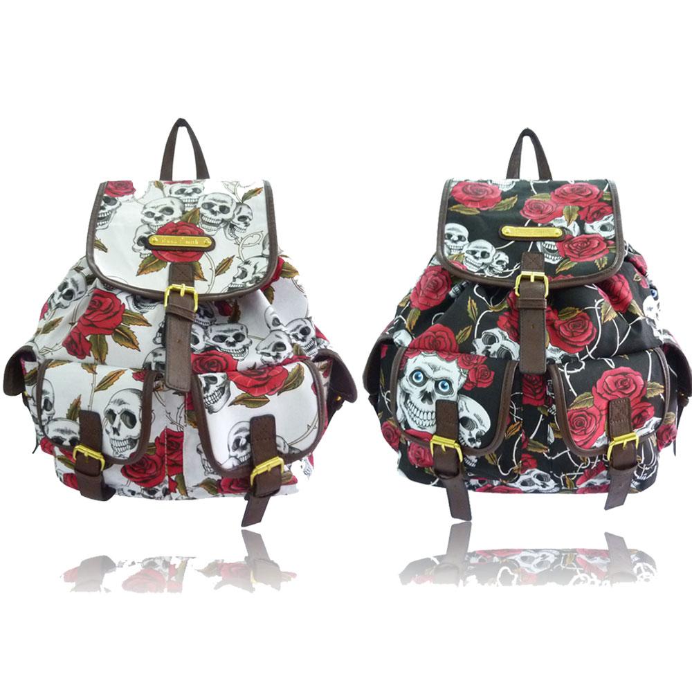 ... -Skull-and-Roses-Backpack-Anna-Smith-Designer-Shoulder-School-Bag