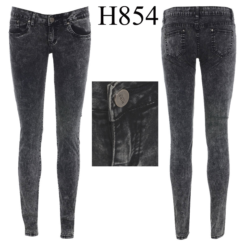 Womens Slim Fit Skinny Jeans Ladies Rugged Acid Wash Denim Pant ...