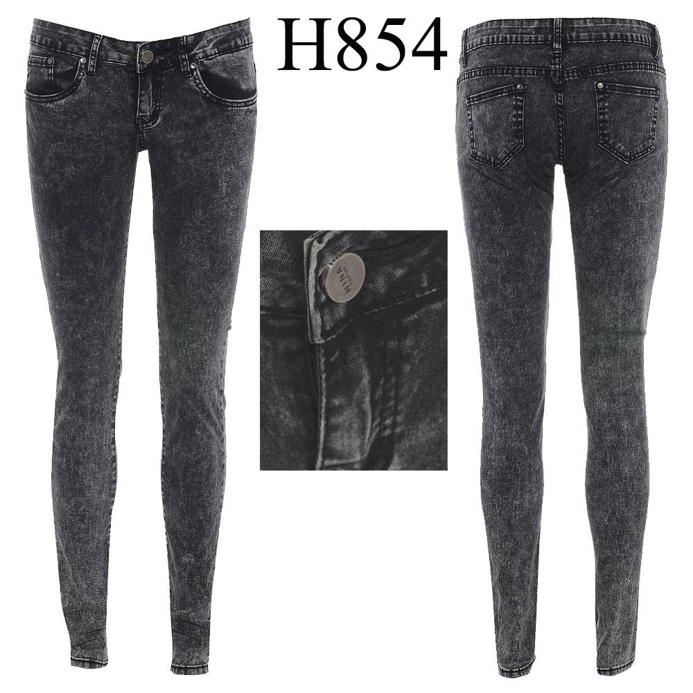 Womens Slim Fit Skinny Jeans Ladies Rugged Acid Wash Denim Pant ...
