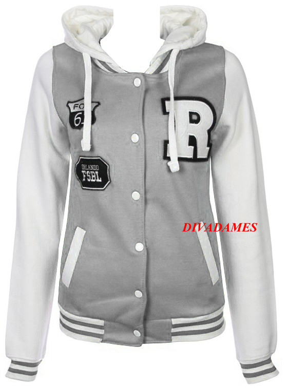 WOMENS-BASEBALL-HOODED-TOP-LADIES-BOMBER-JERSEY-JACKET-SIZE-8-14