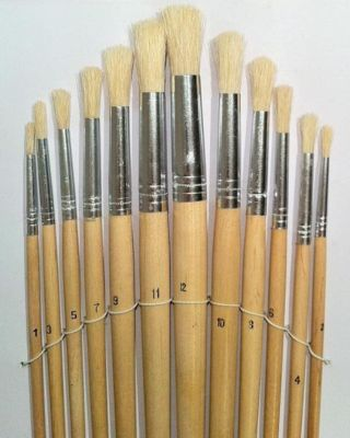 LARGE ARTIST PAINT BRUSHES | 12 Pack | Wooden Handles