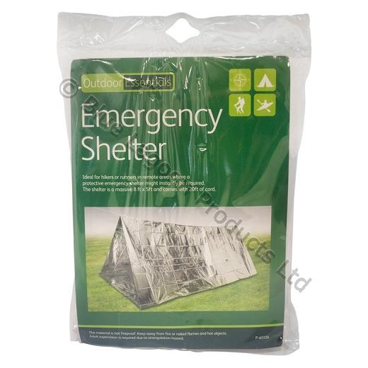 Emergency Shelter Tent - With Support Cord - 8ft x 5ft and 20ft Cord