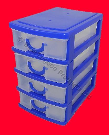 4 azul caj n mini escritorio caj n almacenaje bandejas - Organizador cajon oficina ...