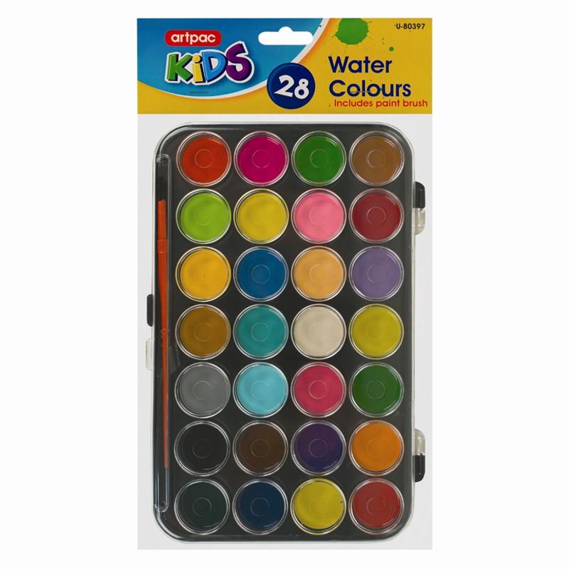 palette de gouache a l 39 eau 28 couleurs avec pinceau lot d 39 artiste ebay. Black Bedroom Furniture Sets. Home Design Ideas