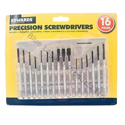 16pc precision screwdriver set phillips hex allen nut slot flat mini drivers. Black Bedroom Furniture Sets. Home Design Ideas