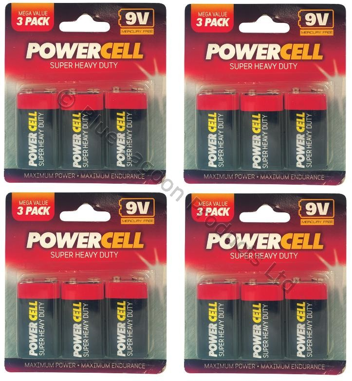 12-x-9V-PP3-Powercell-Heavy-Duty-Smoke-Alarm-MN1604-6LR61-Battery-Batteries