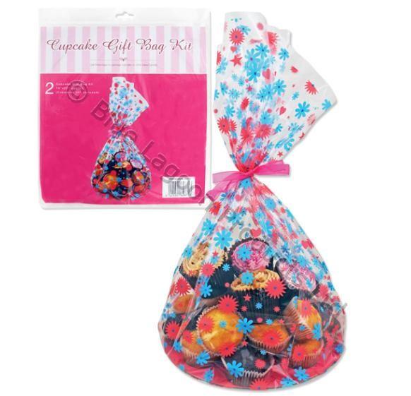 2X Cupcake Muffin Fairy Cakes Wrap Kit Gift Bag Cello Party Cellophane Card Base
