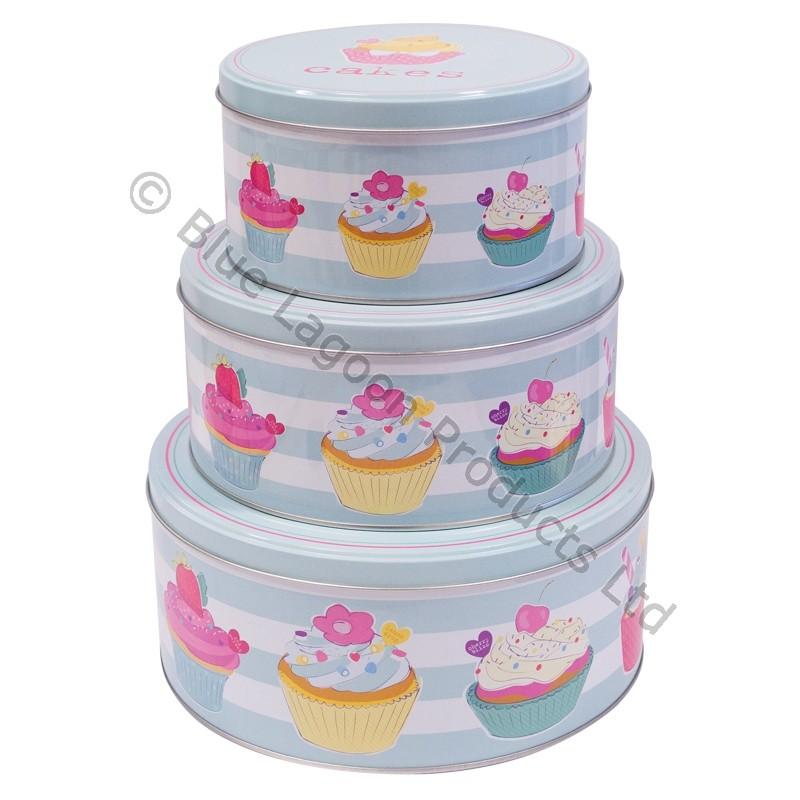 3 x cake tins biscuit round circular cupcake tin with lids. Black Bedroom Furniture Sets. Home Design Ideas