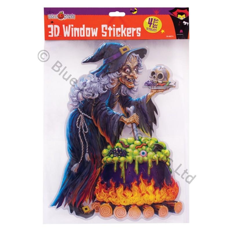 Halloween decoration trick or treat 3d window stickers for Decoration d halloween exterieur