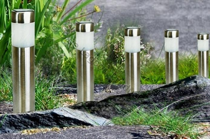4 x garden solar power round cylinder light led outdoor