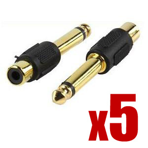 6.35mm Jack to Phono RCA Socket GOLD Adaptor 1766 | 5pk