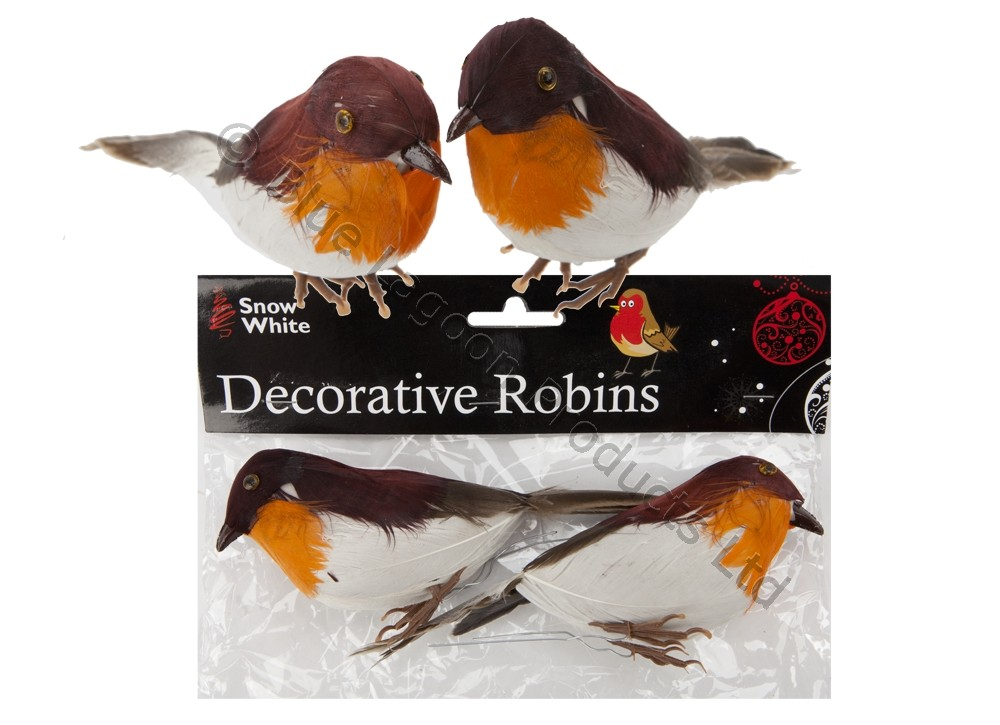 2 x robins decoration wire christmas model artificial for Artificial birds for decoration