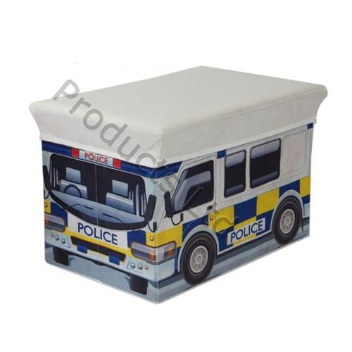Kids Collapsible Ottoman Toy Books Box Storage Seat Chest: Police Car Kids Storage Box Seat Books Clothes Chest