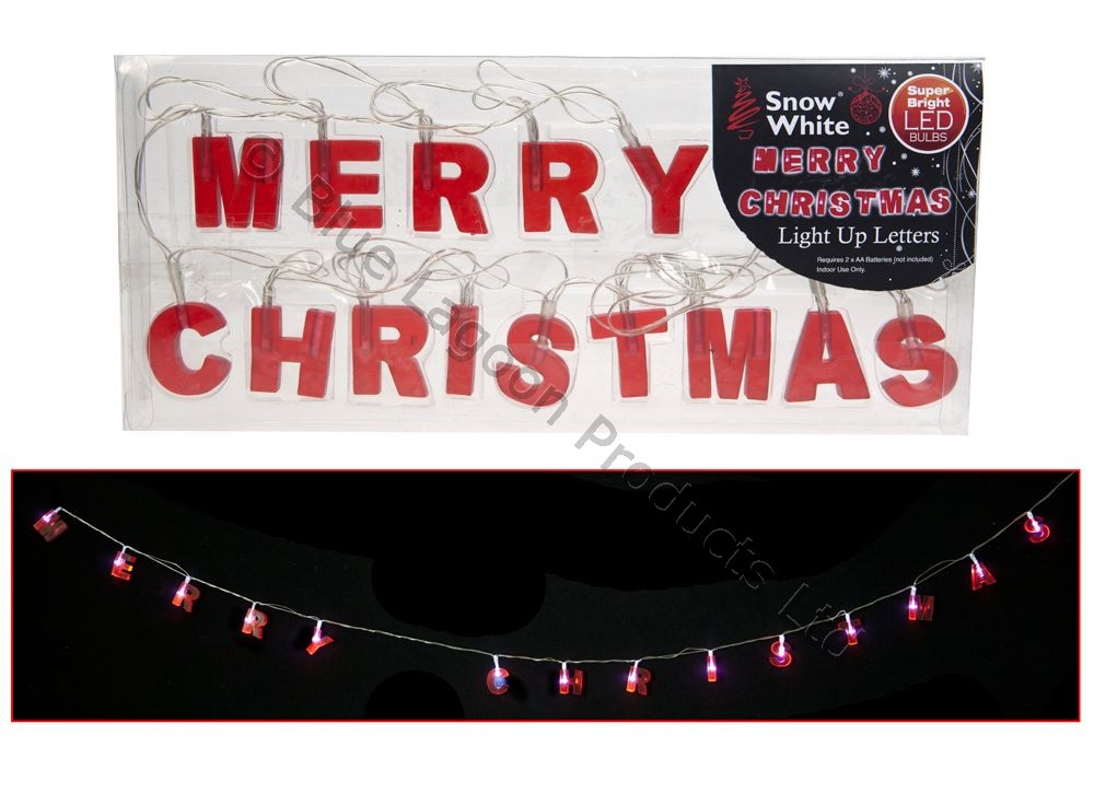 Led merry christmas light up hanging letters sign xmas