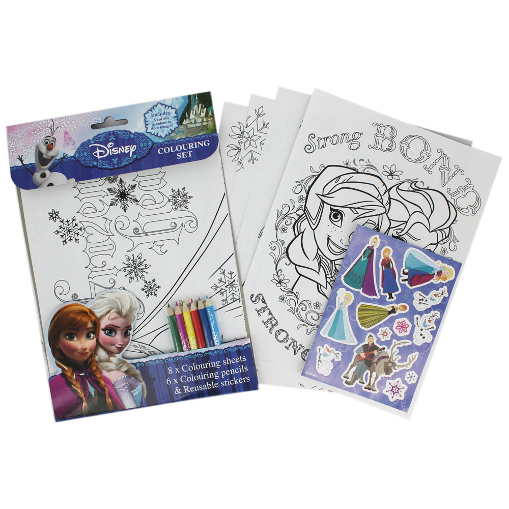 Frozen Colouring Set Stationery Pencils Stickers Pad