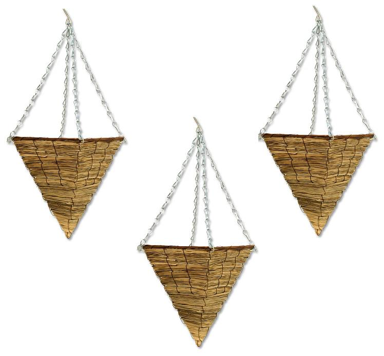 Hanging Flower Baskets Cone Shaped : Cm seagrass cone hanging basket garden plant flower pot