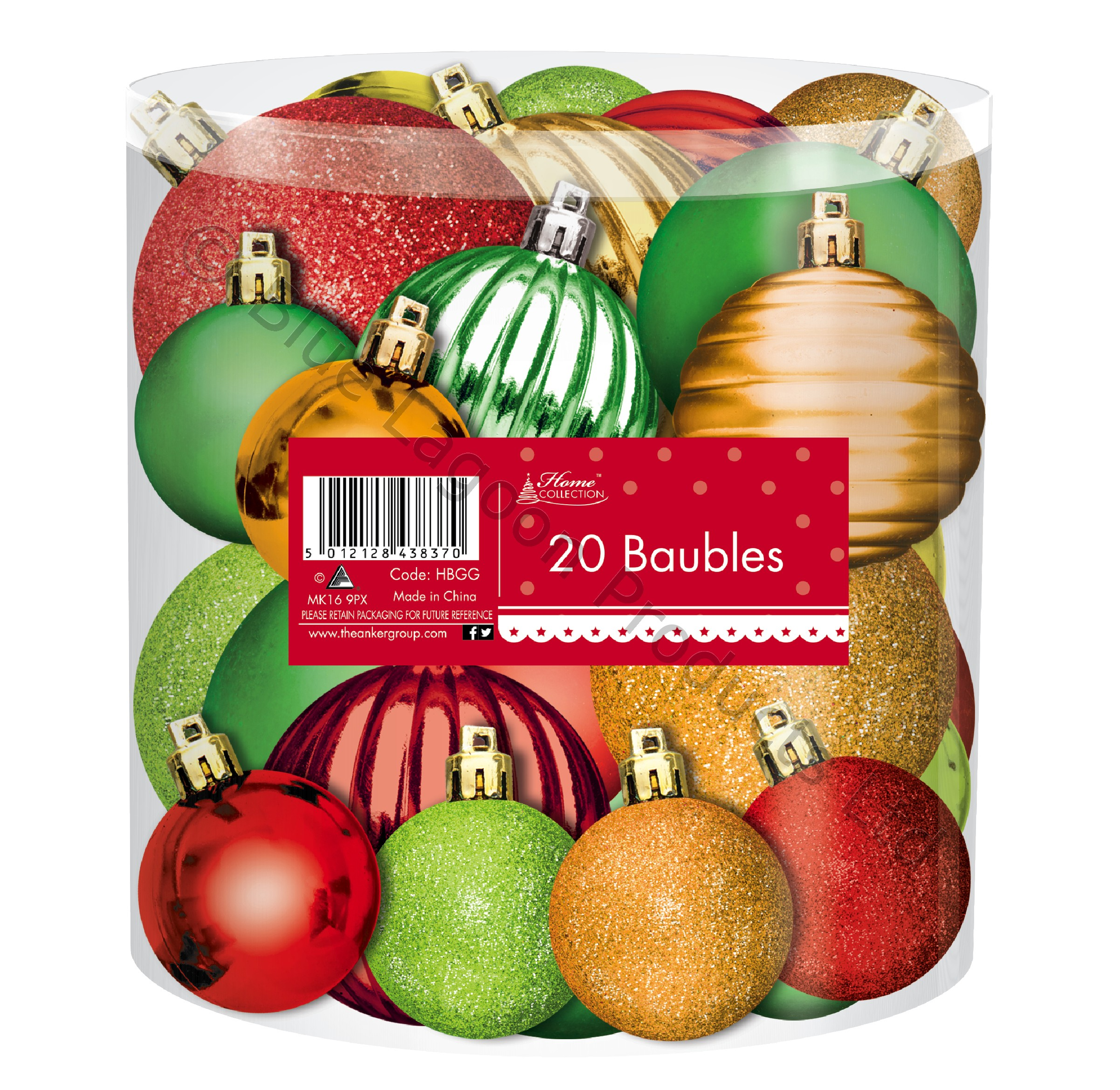 Pack Of 20 Red Gold Green Christmas Tree Bauble