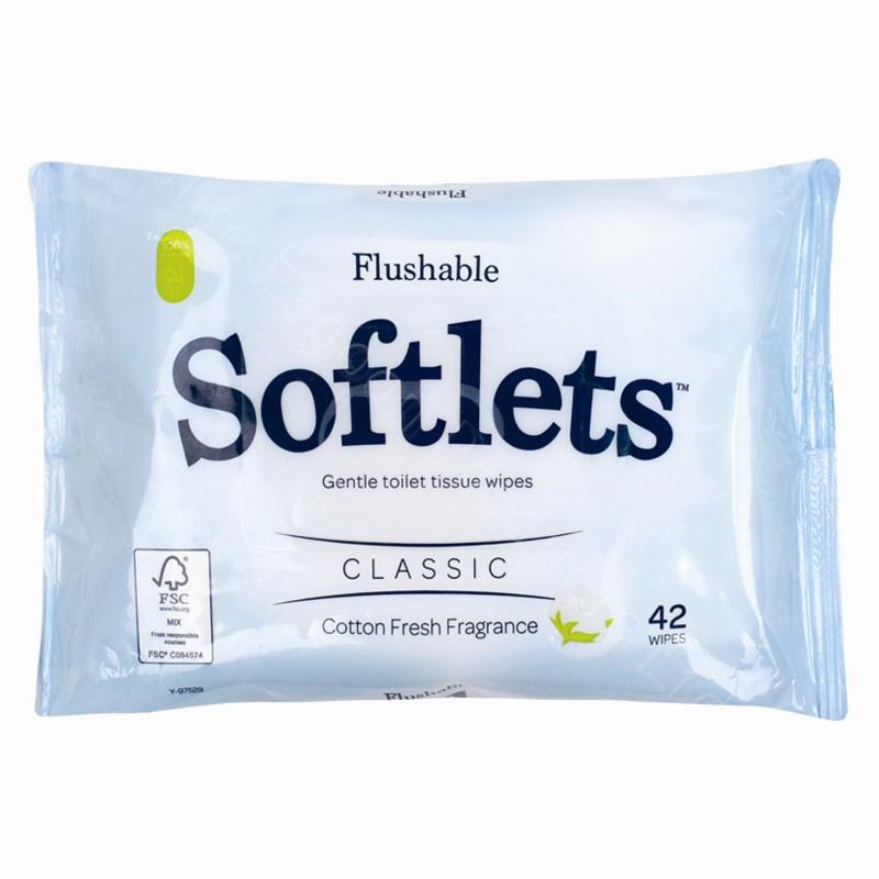 Pack Of 42 Moist Softlets Gentle Toilet Tissue Flushable