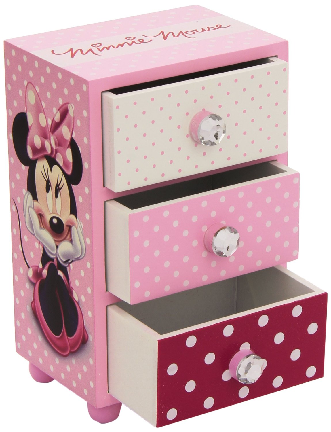 Minnie Mouse Bedroom 3 Drawer Storage Kids Wooden Box Pink