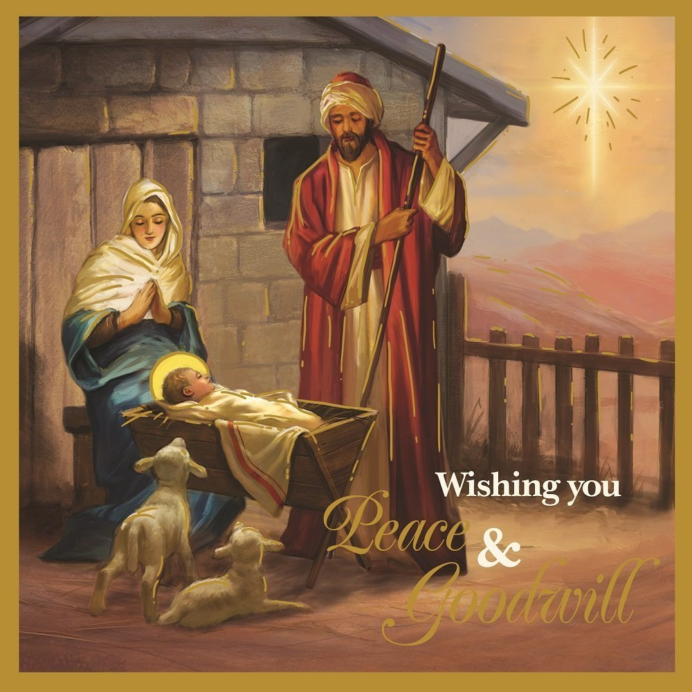 12 x religious scenes foil design christmas cards