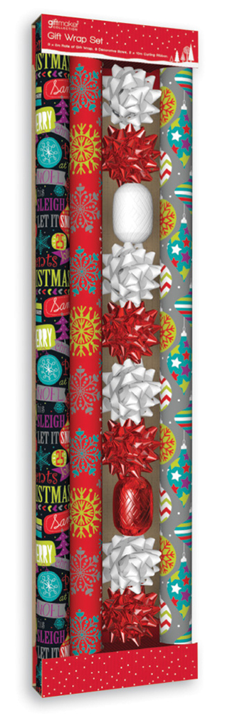 6m Assorted Christmas Gift Wrap Set Bow Wrapping Paper