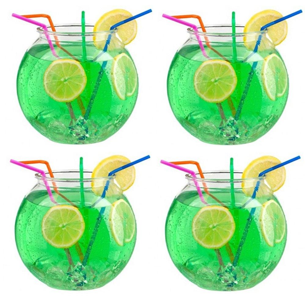 4 x 2 litre durable plastic cocktail fish bowl party for Fish bowl punch