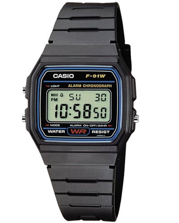 Casio F-91W-1YER Mens/Womens Resin Classic Retro LCD Digital Watch - Black
