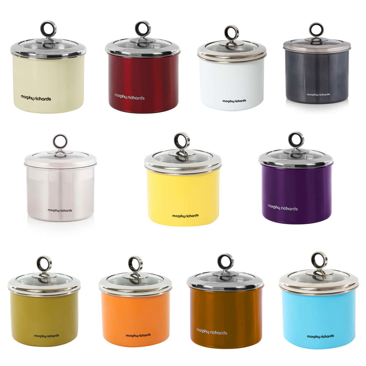 morphy richards small 1 4 litre stainless steel kitchen ribbed glass heart design lid kitchen storage canister jar
