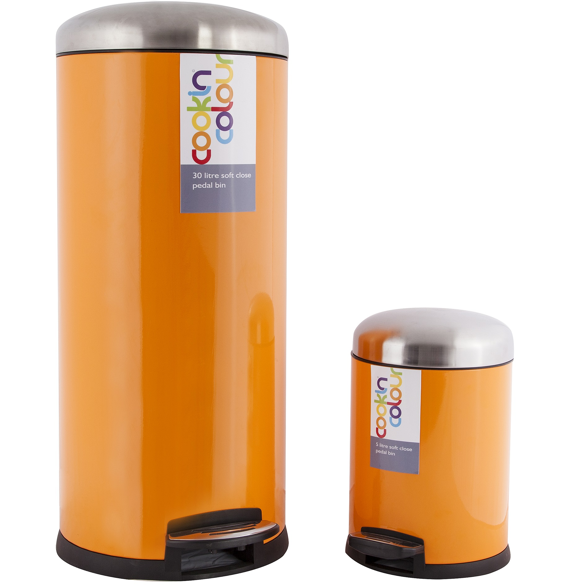 Kitchen Waste Bins: NEW COOKIN COLOUR SET OF TWO 30L 5L SOFT CLOSE KITCHEN