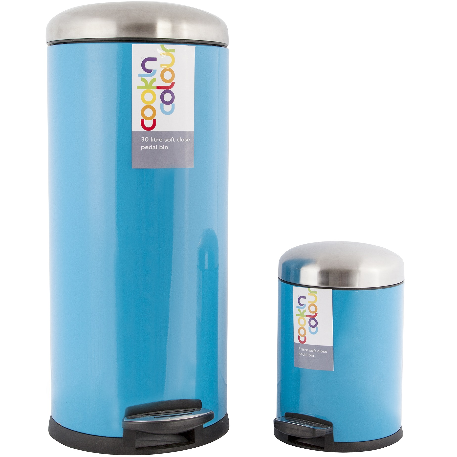 NEW COOKIN COLOUR SET OF TWO 30L 5L SOFT CLOSE KITCHEN WASTE PEDAL ...