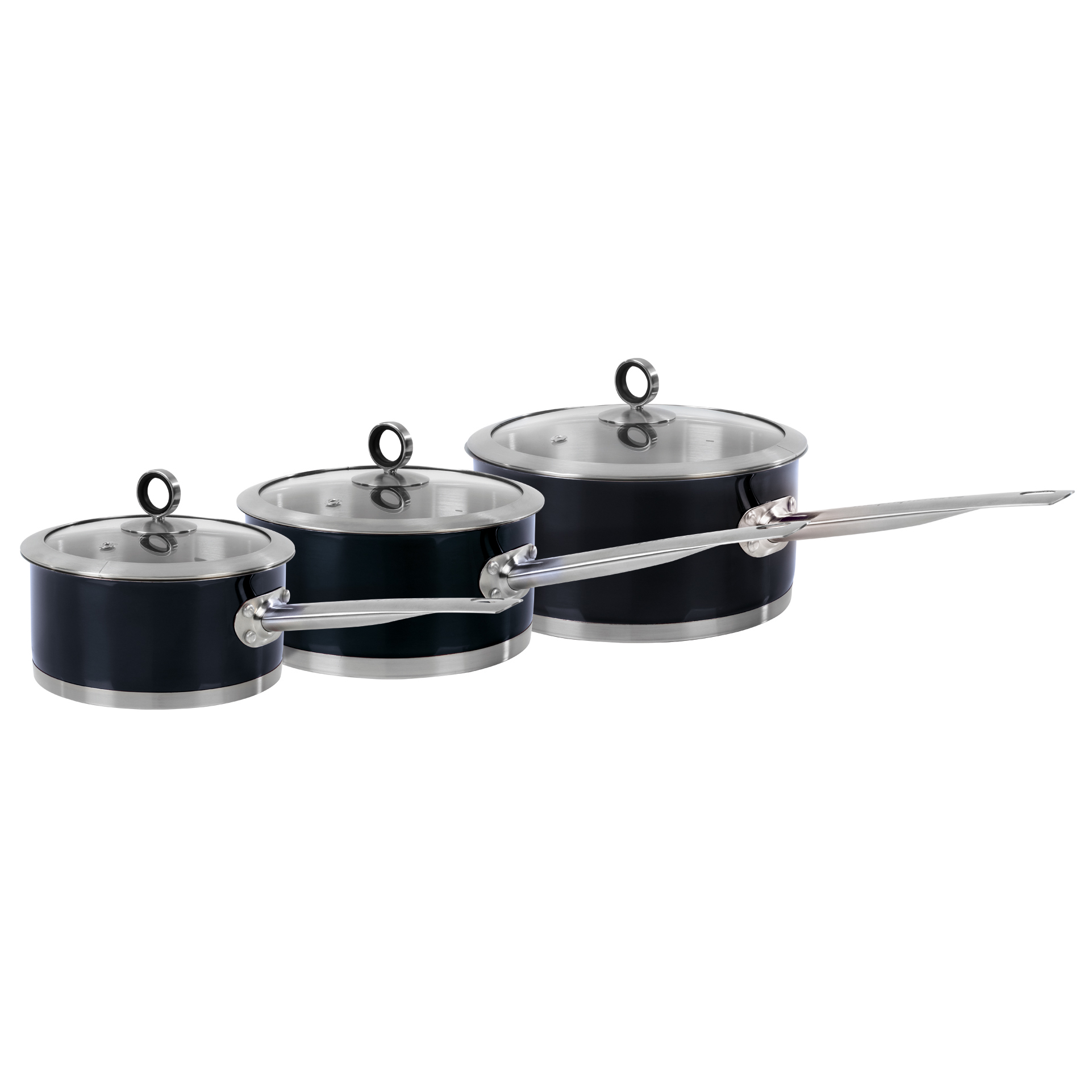 Morphy Richards Pots And Pans: MORPHY RICHARDS 3 PIECE STAINLESS STEEL GLASS LID KITCHEN