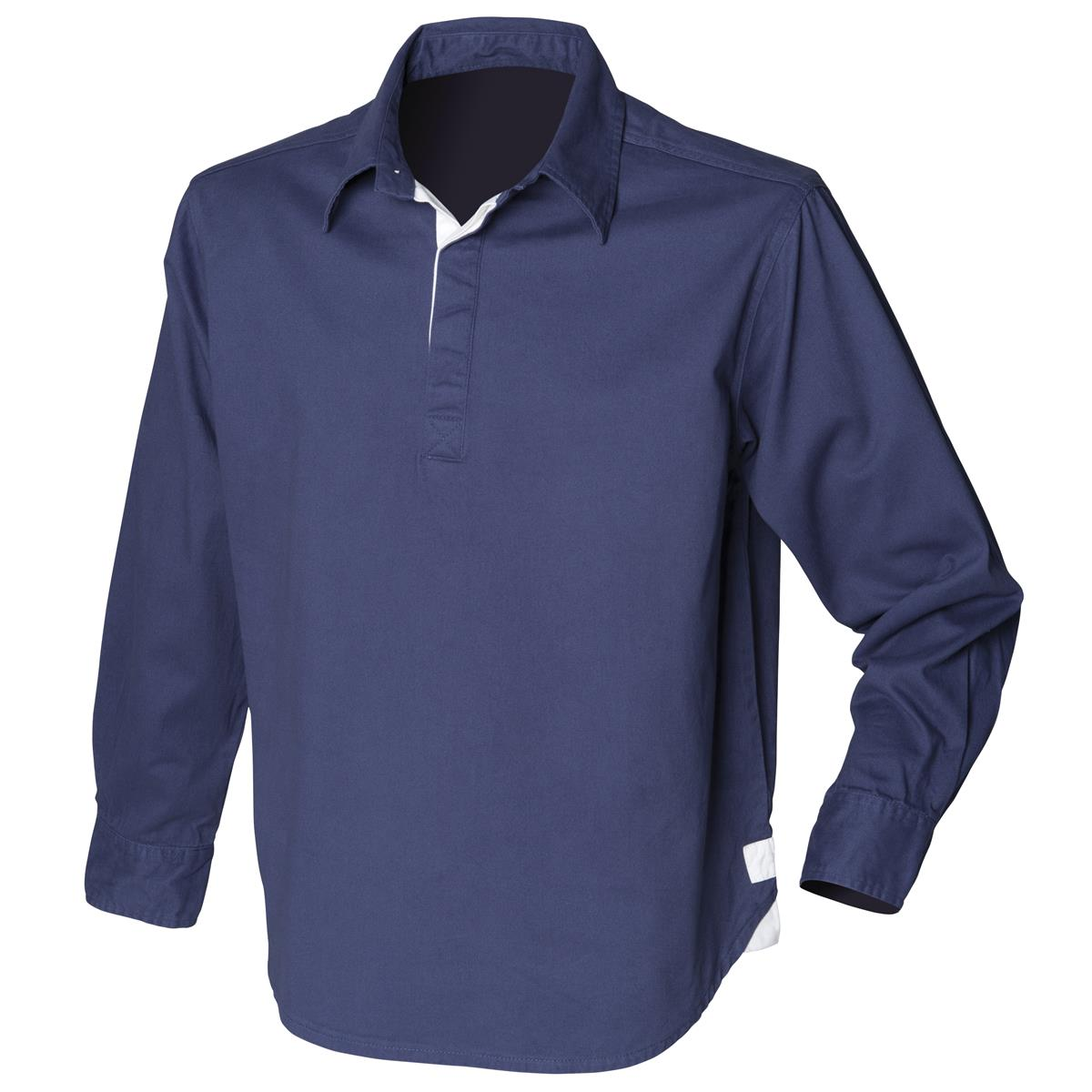Front Row Long Sleeve Plain Drill Shirt Mens Rugby Style