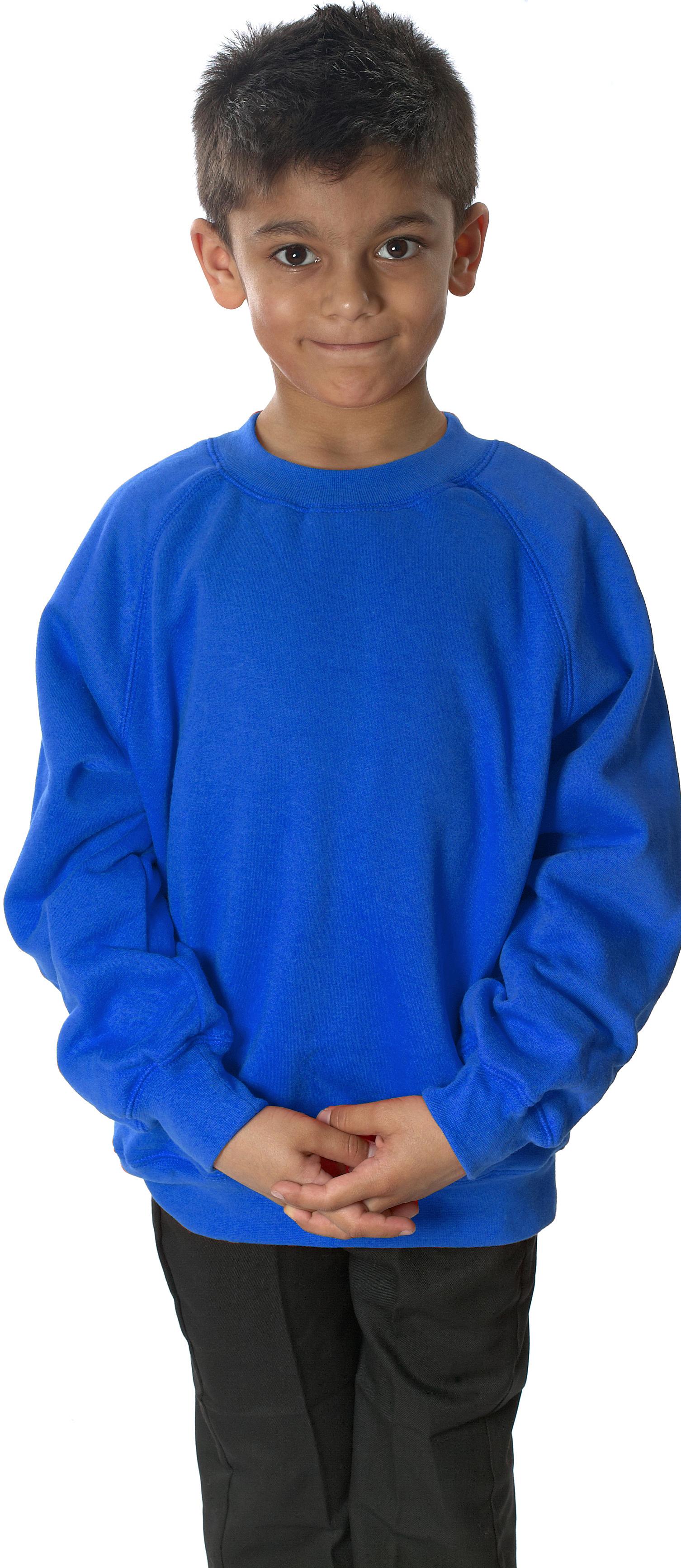 Boys School Uniform Formal Wear Long Sleeve Fleece Round Neck Sweatshirt Jumper