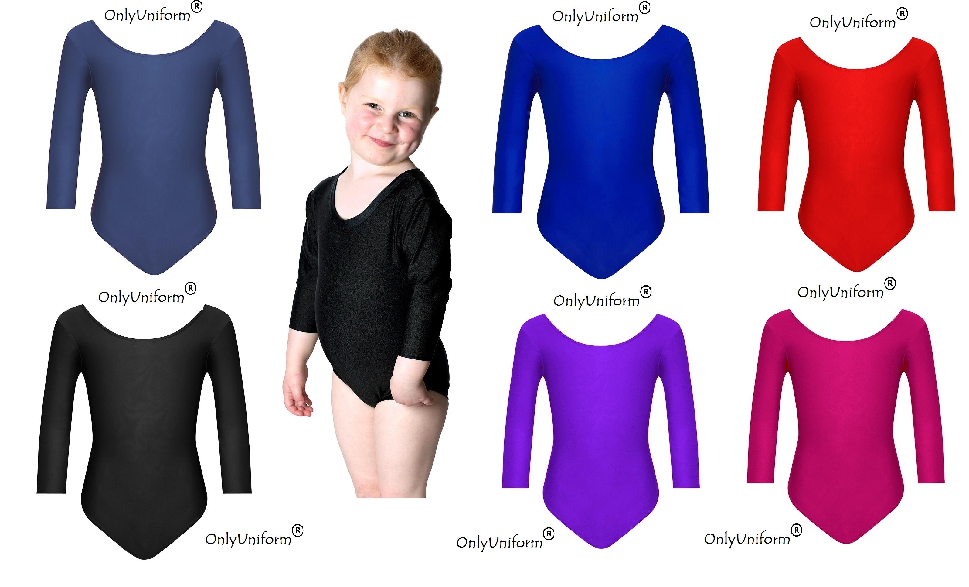 Girls School /& PE Sports Gymnastics Leotard Lycra Sport Activewear Top Size 2-16