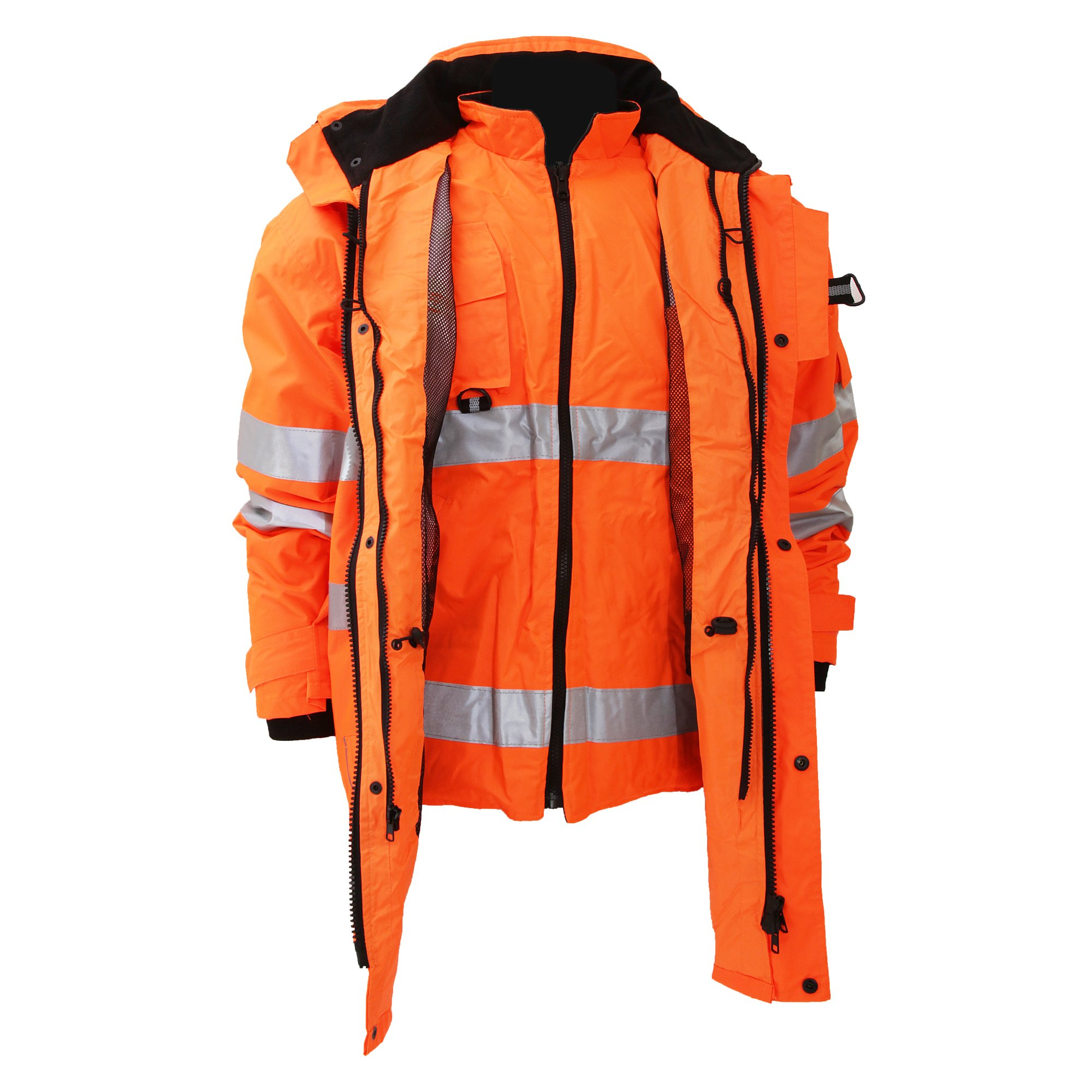Yoko Hi-Vis Multi-Function 7-In-1 Jacket Safety Workwear Mens Reflective Viz Top